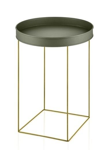 The Mia Sehpa Haki Yeşil Tel Gold Sehpa 55 x 41 x 41 Cm Altın